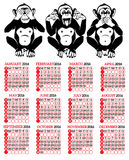 Year of the Monkey Chinese Zodiac. Chinese calendar for the year of monkey 2016 Stock Photos