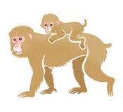 Year of the Monkey Clip Art -Piggyback ride Royalty Free Stock Photos