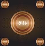 Year Of The Monkey 2016 - gold greeting card. new year letter on a grunge style Royalty Free Stock Photos
