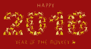 2016 Year of the Monkey. Greeting card for 2016, year of the monkey in the Chinese zodiac royalty free illustration