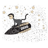 Year Of The Monkey 2016. Greeting card with new 2016 year. Cute cartoon monkey flies on a rocket among the starry sky. Vector illustration Stock Photo