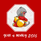 Year of monkey. Happy Chinese new year. Cartoon monkey with calabash Stock Image