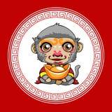 Year of monkey. Happy Chinese new year. Cartoon monkey with gold Stock Illustration