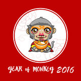 Year of monkey. Happy Chinese new year. Cartoon monkey with gold Stock Photography