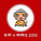 Year of monkey. Happy Chinese new year. Cartoon monkey with gold Royalty Free Illustration