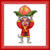 Year of monkey. Happy Chinese new year. Cartoon monkey with peach Vector Illustration
