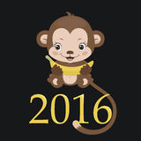 Year Of The Monkey. Happy new year 2016. Year Of The Monkey. Cute monkey with banana. Vector Illustration Royalty Free Illustration