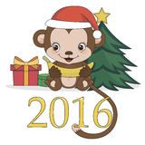 Year Of The Monkey. Happy new year 2016. Year Of The Monkey. Cute monkey with banana  on white background. Vector Illustration Royalty Free Stock Image