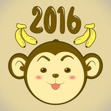 Year of the Monkey 2016. Happy New Year Vector illustration stock illustration