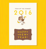 Year of the monkey,  happy new year 2016. Vector design with cute hanging monkey Stock Photography