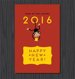 Year of the monkey, happy new year 2016. Vector design with cute hanging monkey stock illustration