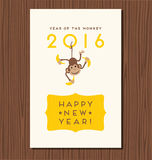Year of the monkey,  happy new year 2016. Vector design with cute hanging monkey Stock Photo
