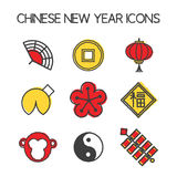 Year of the Monkey icons. Chinese New Year 2016. Hand draw style. Translation of Chinese character: prosperity Stock Images