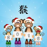 2016 Year of the monkey. Illustration of monkey for the New Year Stock Photography