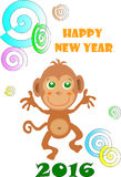 2016 year of the monkey. Illustration of a monkey, which is a symbol of new 2016 Royalty Free Stock Image