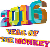 2016 Year of the Monkey Low Polygon. Low polygon style illustration of the number new year 2016and the words Year of the Monkey set on isolated white background Royalty Free Stock Images