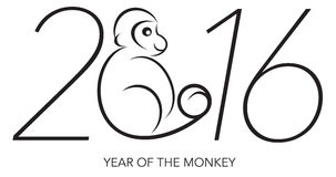 2016 Year of the Monkey Numerals Line Art. 2016 Chines Lunar New Year of the Monkey Black and White Line Art with Text and Year Numerals Vector Illustration Stock Photo