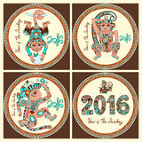 Year of The Monkey. Original design collection for new year celebration with decorative ape and inscription - 2016 Year of The Monkey - on circle ornament with vector illustration