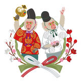 Year Of The Monkey ornament,anthropomorphic Two Monkeys Royalty Free Stock Photo