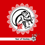 Year Of Monkey Postcard. Year of monkey 2016 postcard with chinese zodiac symbol  on red background vector illustration Royalty Free Stock Photos