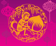 Year of Monkey in purple background Stock Images
