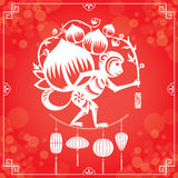 Year of Monkey in Red background Stock Photos