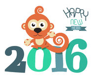 2016 Year with Monkey Retro Vector. Flat Design Illustration Stock Image