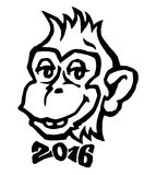 2016 - Year of the monkey. Smiling monkey with 2016 bow tie vect. Year of the monkey-2016. Smiling monkey with 2016 bow tie  illustration Royalty Free Stock Photos