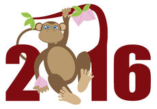 2016 Year of the Monkey on Tree Numerals Illustration Royalty Free Stock Images
