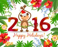 Year of monkey 2016. Tropical background with flowers and leaves for a warm New Year. Vector Illustration Royalty Free Stock Photos