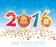 2016 Year of Monkey vector card. Vector card for New Year 2016, the Year of Monkey Stock Photo