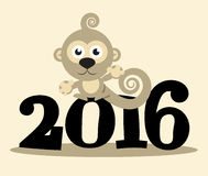 2016 Year with Monkey Vector. Flat Design Illustration Royalty Free Stock Photos