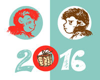 2016 year of Monkey.  Vector illustration of two monkeys - joyful and cheerful, and the inscription in 2016 with a gift box. Stock Photography