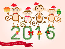 Year of monkey. Vector for new year card 2016. Year of the monkey with four cute character of monkeys standing on 2016 figures created from pine branches Royalty Free Stock Photography
