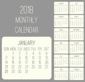 Year 2018 monthly calendar. Year 2018 plain contemporary vector monthly calendar. Week starting from Sunday. Beige rounded rectangle over gray background Stock Images