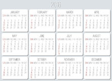 Year 2016 monthly calendar Royalty Free Stock Photography