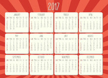 Year 2017 monthly calendar Royalty Free Stock Photography