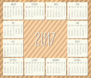 Year 2017 monthly calendar Royalty Free Stock Photo