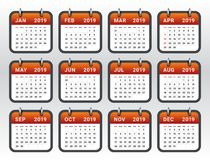 Year 2019 monthly calendar vector illustration stock image