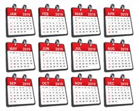 Year 2019 monthly calendar vector illustration stock photography