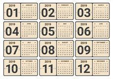 Year 2019 monthly calendar vector illustration royalty free stock photos