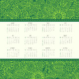 Year 2016 monthly calendar. Year 2016 vector monthly calendar over green lacy doodle hand drawn background, week starting from Sunday Stock Images