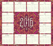 Year 2016 monthly calendar. Year 2016 vector monthly calendar over lacy doodle hand drawn background, week starting from Sunday Royalty Free Stock Photo