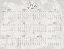 Year 2016 monthly calendar. Year 2016 vector monthly calendar over textured gray watercolor background. Week starting from Sunday vector illustration