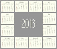 Year 2016 monthly calendar Stock Photos