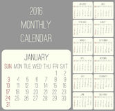Year 2016 monthly calendar Stock Images