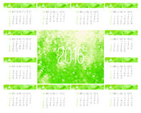 Year 2016 monthly calendar Royalty Free Stock Image