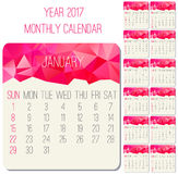 Year 2017 monthly calendar. Year 2017 vector monthly calendar. Week starting from Sunday. Contemporary low poly design in hot pink color Stock Photo
