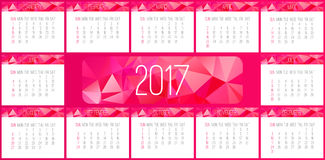 Year 2017 monthly calendar Stock Photography