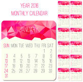 Year 2016 monthly calendar Stock Photo